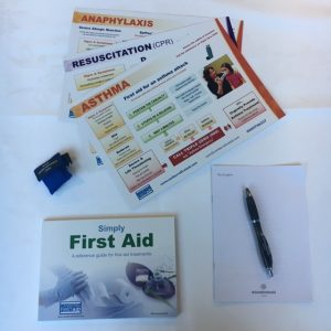 First Aid Manual and glove set free with every first aid course.